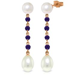 Genuine 11 ctw Pearl & Amethyst Earrings Jewelry 14KT Rose Gold - REF-28F8Z