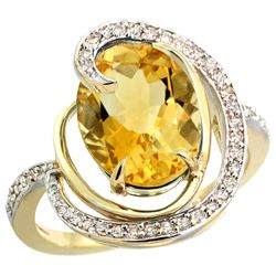 Natural 6.53 ctw citrine & Diamond Engagement Ring 14K Yellow Gold - REF-72Y8X