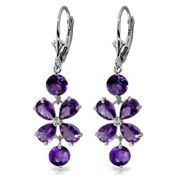 Genuine 5.32 ctw Amethyst Earrings Jewelry 14KT White Gold - REF-50K3V