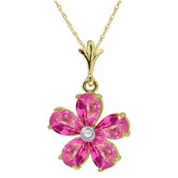 Genuine 2.22 ctw Pink Topaz & Diamond Necklace Jewelry 14KT Yellow Gold - REF-30T7A