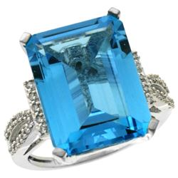 Natural 12.14 ctw Swiss-blue-topaz & Diamond Engagement Ring 10K White Gold - REF-53V2F