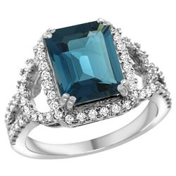 Natural 3.08 ctw london-blue-topaz & Diamond Engagement Ring 14K White Gold - REF-107Z3Y