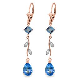 Genuine 3.97 ctw Blue Topaz & Diamond Earrings Jewelry 14KT Rose Gold - REF-44N9R