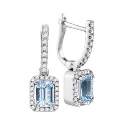 0.79 CTW Cushion Aquamarine Solitaire Diamond Hoop Dangle Earrings 14KT White Gold - REF-81Y2X