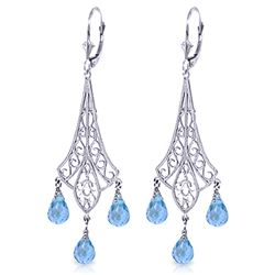 Genuine 4.8 ctw Blue Topaz Earrings Jewelry 14KT White Gold - REF-56K9V
