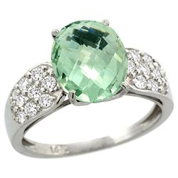 Natural 2.75 ctw green-amethyst & Diamond Engagement Ring 14K White Gold - REF-58K4R