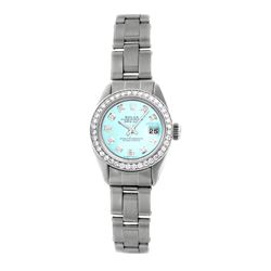 Rolex Pre-owned 26mm Womens Custom Ice Blue Dial Stainless Steel - REF-470X3K