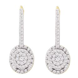 0.50 CTWDiamond Flower Cluster Dangle Leverback Earrings 10KT Yellow Gold - REF-34K4W
