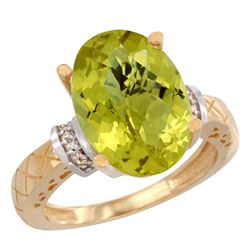 Natural 5.53 ctw Lemon-quartz & Diamond Engagement Ring 14K Yellow Gold - REF-57F8N