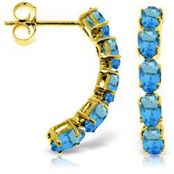 Genuine 2.5 ctw Blue Topaz Earrings Jewelry 14KT Yellow Gold - REF-37P4H
