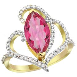 Natural 3.33 ctw Pink-topaz & Diamond Engagement Ring 14K Yellow Gold - REF-77V5F