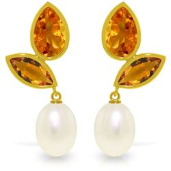 Genuine 16 ctw Pearl & Citrine Earrings Jewelry 14KT Yellow Gold - REF-42T2A
