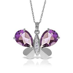 Genuine 6.6 ctw Amethyst & Diamond Necklace Jewelry 14KT White Gold - REF-126Z3N