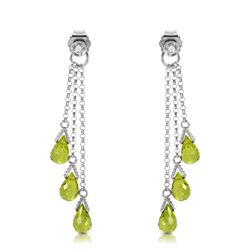 Genuine 10.53 ctw Peridot & Diamond Earrings Jewelry 14KT White Gold - REF-33P7H