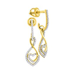 0.25 CTW Diamond Heart Dangle Screwback Earrings 10KT Yellow Gold - REF-22N4F