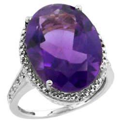 Natural 13.6 ctw Amethyst & Diamond Engagement Ring 14K White Gold - REF-75N6G