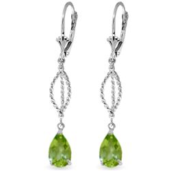 Genuine 3 ctw Peridot Earrings Jewelry 14KT White Gold - REF-45R5P