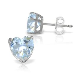 Genuine 3.25 ctw Aquamarine Earrings Jewelry 14KT White Gold - REF-28X5M