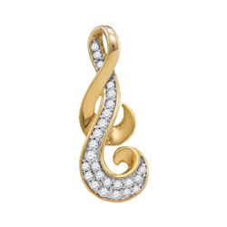 0.14 CTW Diamond Cluster Curled Pendant 10KT Yellow Gold - REF-13N4F
