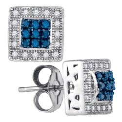 0.18 CTW Blue Color Diamond Square Cluster Stud Earrings 10KT White Gold - REF-24N2F