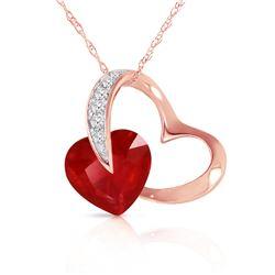 Genuine 4.4 ctw Ruby & Diamond Necklace Jewelry 14KT Rose Gold - REF-71N9R