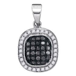 0.25 CTW Black Color Diamond Cluster Pendant 10KT White Gold - REF-14X9Y