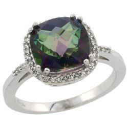 Natural 4.11 ctw Mystic-topaz & Diamond Engagement Ring 14K White Gold - REF-44X2A