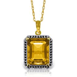 Genuine 5.4 ctw Citrine & Black Diamond Necklace Jewelry 14KT Yellow Gold - REF-68K4V