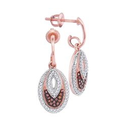 0.33 CTW Red Color Diamond Oval Dangle Screwback Earrings 10KT Rose Gold - REF-40W4K