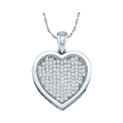 0.33 CTW Diamond Heart Love Pendant 10KT White Gold - REF-30F2N