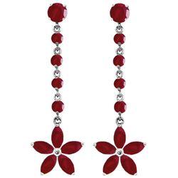 Genuine 4.8 ctw Ruby Earrings Jewelry 14KT White Gold - REF-69F6Z