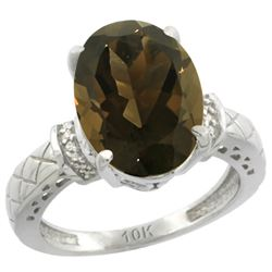 Natural 5.53 ctw Smoky-topaz & Diamond Engagement Ring 10K White Gold - REF-44W6K