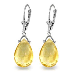 Genuine 10.20 ctw Citrine Earrings Jewelry 14KT White Gold - REF-28F9Z