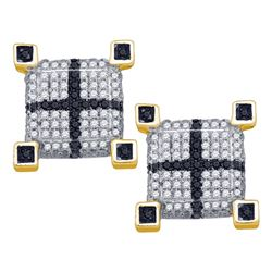 0.59 CTW Mens Black Color Diamond 3D Cube Square Cross Earrings 10KT Yellow Gold - REF-49H5M