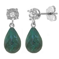 Genuine 17.66 ctw Green Sapphire Corundum & Diamond Earrings Jewelry 14KT White Gold - REF-37V4W