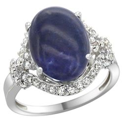 Natural 4.91 ctw lapis-lazuli & Diamond Engagement Ring 14K White Gold - REF-83V2F