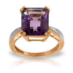 Genuine 5.62 ctw Amethyst & Diamond Ring Jewelry 14KT Rose Gold - REF-82N9R