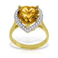 Genuine 3.24 ctw Citrine & Diamond Ring Jewelry 14KT Yellow Gold - REF-66A9K