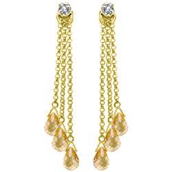 Genuine 7.38 ctw Citrine & Diamond Earrings Jewelry 14KT Yellow Gold - REF-33F7Z