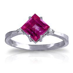 Genuine 1.77 ctw Pink Topaz & Diamond Ring Jewelry 14KT White Gold - REF-29N2R