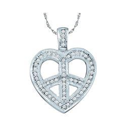 0.15 CTW Diamond Heart Peace Sign Pendant 10KT White Gold - REF-20X9Y
