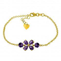 Genuine 3.15 ctw Amethyst Bracelet Jewelry 14KT Yellow Gold - REF-56H4X
