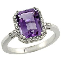 Natural 2.63 ctw amethyst & Diamond Engagement Ring 10K White Gold - REF-32N7G