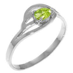 Genuine 0.30 CTW Peridot Ring Jewelry 14KT White Gold - REF-30F5Z