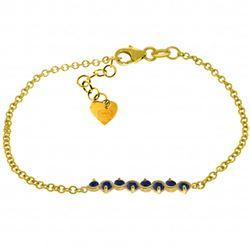 Genuine 1.55 ctw Sapphire Bracelet Jewelry 14KT Yellow Gold - REF-62P7H