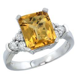 Natural 2.86 ctw whisky-quartz & Diamond Engagement Ring 14K White Gold - REF-64Y7X