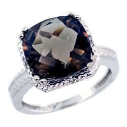 Natural 5.96 ctw Smoky-topaz & Diamond Engagement Ring 14K White Gold - REF-42V3F
