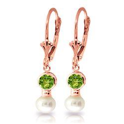 Genuine 5.2 ctw Peridot & Pearl Earrings Jewelry 14KT Rose Gold - REF-35T9A