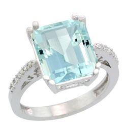 Natural 5.48 ctw Aquamarine & Diamond Engagement Ring 14K White Gold - REF-83R8Z