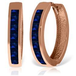Genuine 1.85 ctw Sapphire Earrings Jewelry 14KT Rose Gold - REF-64V6W